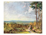 Hampstead Heath Looking Towards Harrow  1821 (Oil on Paper Laid on Canvas)