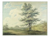 Landscape with Trees and Figures  C1796 (W/C over Graphite on Paper)