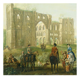 Riders Pausing by the Ruins of Rievaulx Abbey  c1740-50