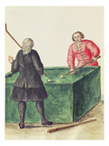 Two Venetian Noblemen Playing Billiards (Pen and Ink and W/C on Paper)