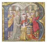 Historiated Initial 'B' Depicting Christ Healing a Possessed Man (Vellum)