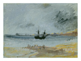 Ship Aground  Brighton  1830 (Black Ink  W/C and Bodycolour on Paper)