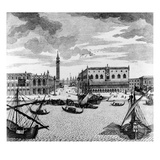 View of St Mark's Square from the Lagoon  Venice (Engraving)