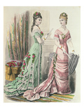 Paris Fashion  from 'Journal Des Demoiselles' Published Dupuy Paris  1878 (Colour Litho)
