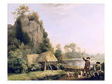 Two Gentlemen Going a Shooting  with a View of Creswell Crags  Taken on the Spot (Oil on Canvas)