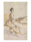 Portrait of a Lady at a Drawing Table (Graphite and Brown Wash on Paper) (Detail of 146389)