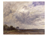 Landscape with Grey Windy Sky  C1821-30 (Oil on Paper Laid Down on Millboard)