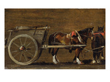 A Farm Cart with Two Horses in Harness: a Study for the Cart