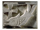 Relief Depicting a Fish and a Cross  from the Cemetery of Ermant  4th-5th Century (Limestone)