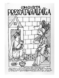 Atahualpa Inca in His Prison at Cajamarca (Woodcut)