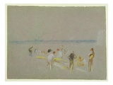Cricket on the Goodwin Sands (Chalk  W/C and Bodycolour on Paper)