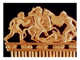 Comb Ornamented with Warriors in Combat  Five Crouching Lions Below (Gold) (Detail of 389345)