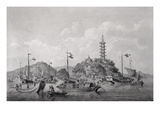View of Golden Mountain Island in the Blue River  China  C1794 (Pen  Ink and Wash)