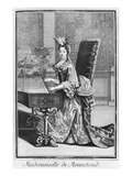 Mademoiselle De Mennetoud Playing the Harpsichord (Engraving)