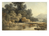 Hilly Landscape with River and Cattle  C1810 (W/C over Graphite on Wove Paper)