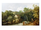 A View Near Matlock  Derbyshire with Figures Working Beneath a Wooden Conveyor  1785