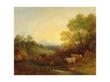 A Landscape with Cattle and Figures by a Stream and a Distant Bridge  C1772-4 (Oil on Canvas)