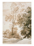 Trees and Deer  after Claude  1825 (Pen and Ink with Wash on Paper)