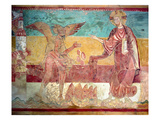 Temptation of Christ in the Desert by the Devil  12th Century (Fresco)