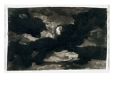 Study of a Clouded Moonlit Sky (Black Wash on Laid Paper)