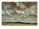 Extensive Landscape with Grey Clouds  C1821 (Oil on Paper on Canvas)