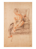 Semi-Nude Woman Seated on a Chaise Longue  Holding Her Foot (Sanguine and Black Chalk on Paper)