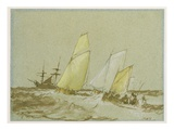 Shipping  C1828-30 (Pen  Brush and Brown Ink  Bodycolour and Graphite on Blue Paper)