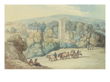 The Church and Village of St Cue  Cornwall  C1812 (Pen and Ink and W/C on Graphite on Paper)