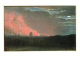 Fire in London Seen from Hampstead (Oil on Paper Laid on Panel)