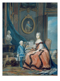 Portrait of Marie-Josephe De Saxe (1731-67) Dauphine of France and Her Son
