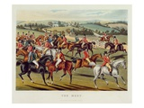 The Meet'  Plate I from 'Fox Hunting'  1838 (Hand-Coloured Aquatint)