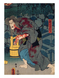 The Blood Stained Witch - Figure from Japanese Theatre  1852 (Colour Woodblock Print)