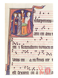Ms 241 F144 Historiated Initial 'S' Depicting the Presentation of Jesus at the Temple