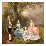 Mr and Mrs John Gravenor and their Daughters  Elizabeth and Ann (Oil on Canvas)