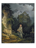 Visitor to a Moonlit Churchyard  1790