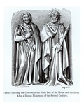 Two Druids  One Carrying the Crescent of the Sixth Day of the Moon