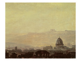 Houses Dominated by a Dome  Rome (Oil on Paper Mounted on Card)