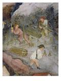 Lumberjacks at Work Felling Trees in the Forest (Fresco)