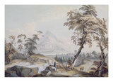 Italianate Landscape with Travellers  No1 (W/C on Paper)