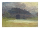 Evening Landscape with Castle and Bridge in Yorkshire  C1798-99 (W/C on Wove Paper)