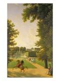 Promenade of Napoleon I (1769-1821) and Marie-Louise (1791-1847) in the Parc De Saint-Cloud in 1810
