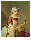 Girl with Racket and Shuttlecock  C1740 (Oil on Canvas)