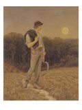 The Harvest Moon  'Globed in Mellow Splendour'  1879 (W/C and Gouache on Paper) (See also 283763)