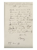 Letter from Renoir to Berthe Morisot (1841-95) Regarding Her First Exhibition  25th May 1892