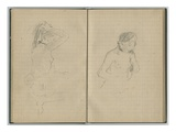Woman Doing Her Hair and Female Nude  from a Sketchbook  1886 (Pencil on Paper)