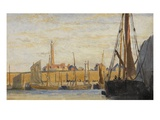 A Continental Harbour  1890 (Oil on Board)