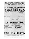 Playbill for Her Majesty's Theatre  Italian Opera House  1845 (Printed Paper)