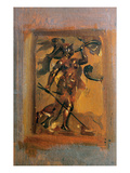 Man in Armour Blowing a Horn (Oil on Canvas)