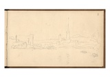 Rouen and the River Seine Looking Downstream (Pencil on Paper)