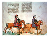 Pal Lat 1071 Frederick Ii: Two Horsemen with Falcons  from 'De Arte Venandi Cum Avibus' (Vellum)